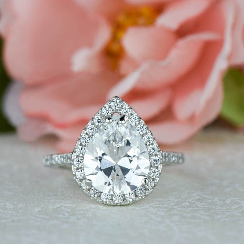 3.5 ctw Pear Halo Engagement Ring | Wedding dresses | Pinterest ...