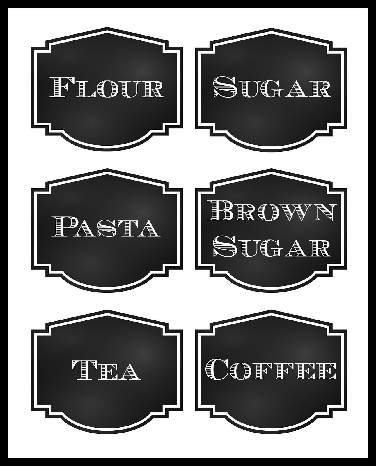 Reorganized Simplicity Free Printable Chalkboard Style Pantry Labels Free Chalkboard Printables Pantry Labels Template Labels Printables Free