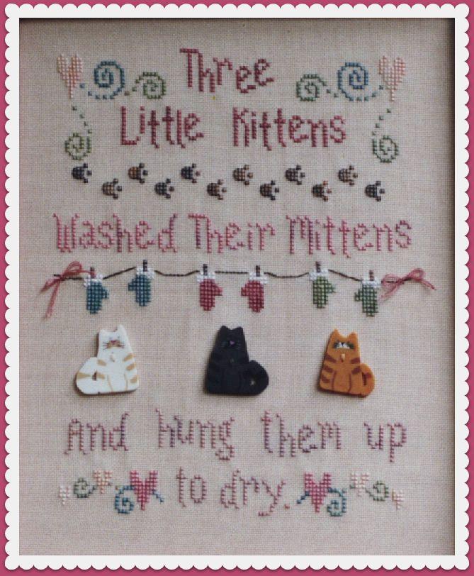 Three Little Kittens Pattern For Cross Stitch Instant Pdf
