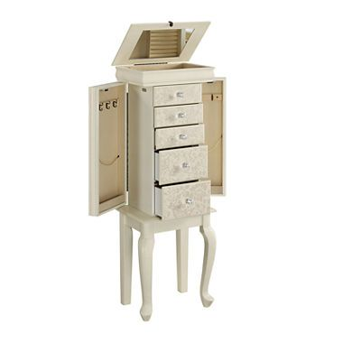 jcpenney.com | Ivory Floral-Pattern Jewelry Armoire ...