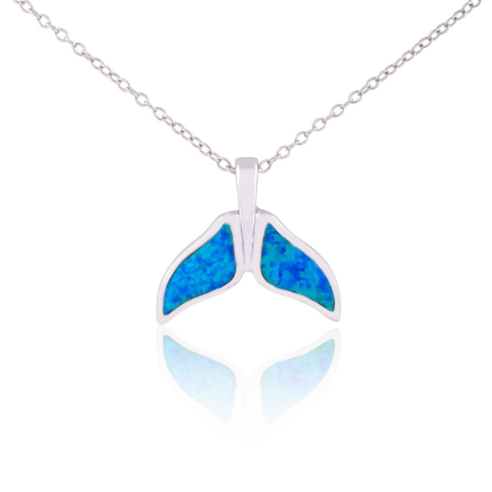925 Sterling Silver Rhodium Plated Blue Opal Cubic Zirconia Anchor Pendant