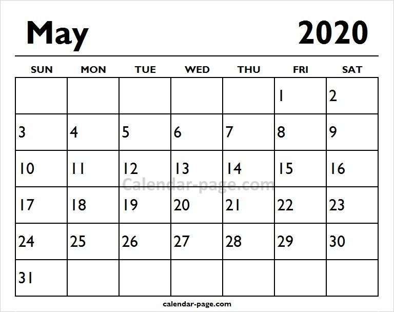 Print Monthly May Calendar 2020 Calendar Pages Printable