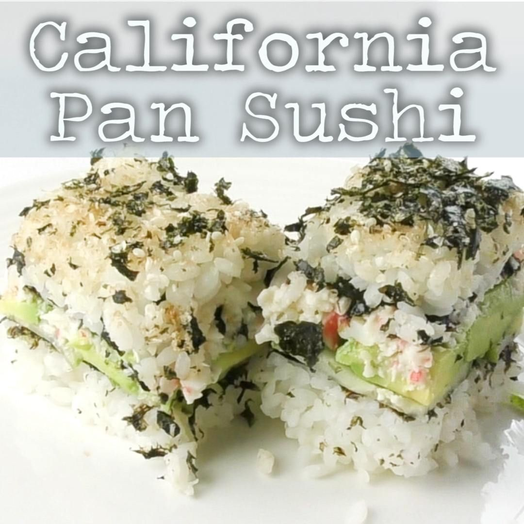 Make Sushi The Easy Way By Layering Ingredients In A Pan No Special Rolling Technique Or Mess Filled With Delicious Crab Mix Avocado A Pan Sushi Recipe Sushi Fillings Sushi Bake