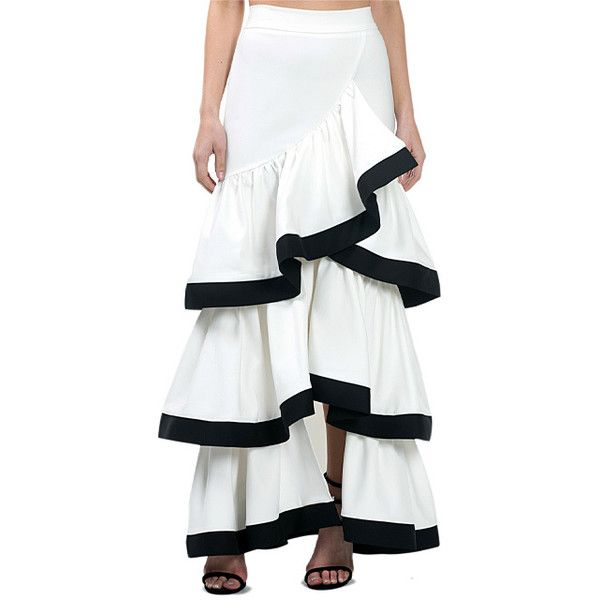 65393c5b43 CQbyCQ Ivory & Black Tiered Ruffle Maxi Skirt ($73) ❤ liked on Polyvore  featuring skirts, ankle length skirts, flounce skirt, maxi skirt, ivory maxi  skirt ...