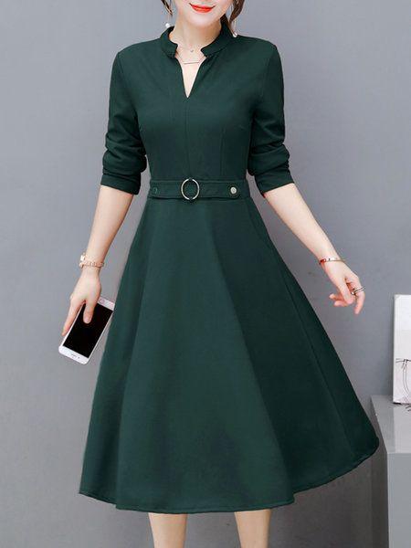 51274db4d4643 Plus Size Women Navy Blue A-line Going out Sleeve Elegant Paneled Dress.  Shop Dresses - Work Long Sleeve Polyester Stand Collar Dress online.