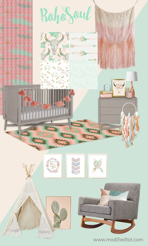 Modern Spin On A Boho Baby Nursery Love The Hippie Flower Child Vibe And Soft Mint C Colors Dream Catcher Feathers Cactus Tee