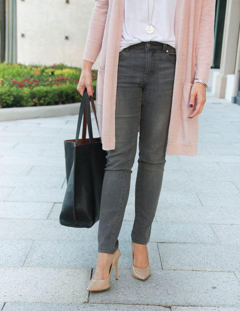 8cd9f35ff98 Blush Pink Cardigan + Gray Jeans under  100