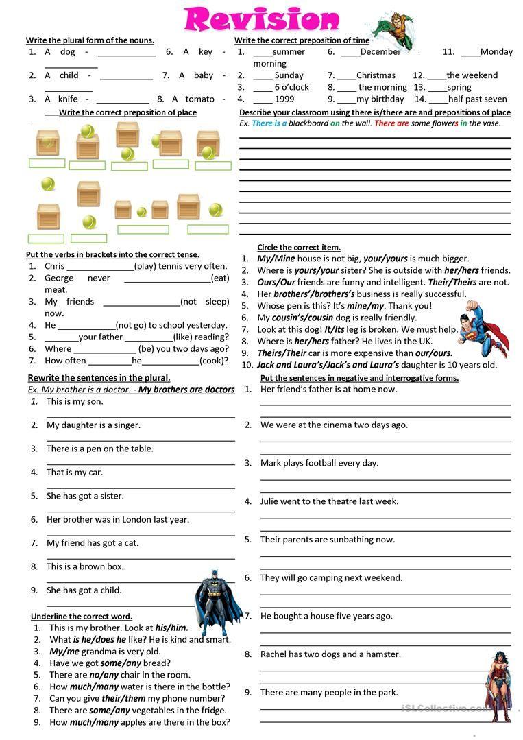 Revision Elementary Worksheet Free Esl Printable Worksheets Made By Teachers English Grammar Elementary Worksheets Learn English Grammar