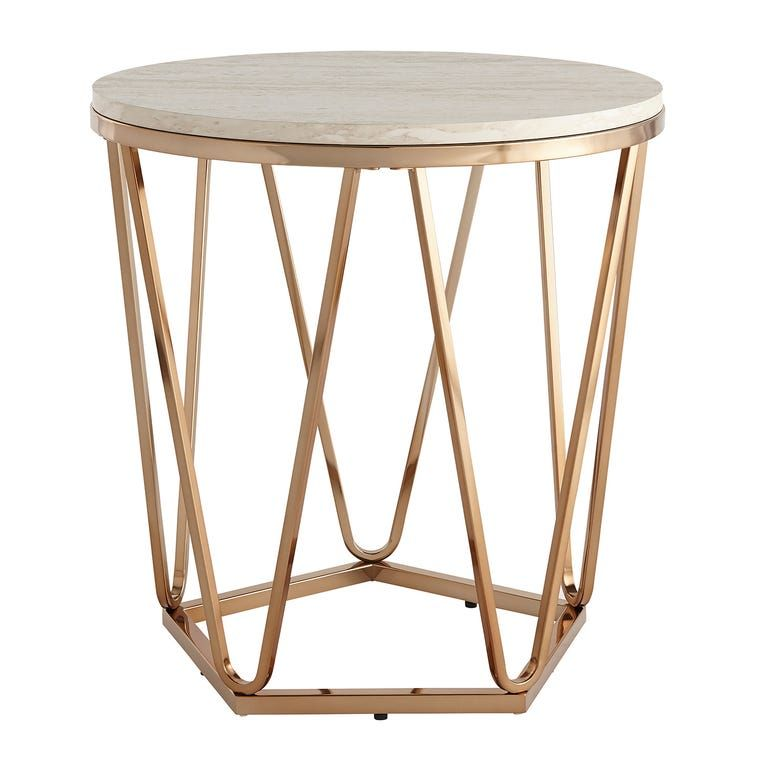 Carver Faux Ivory Stone Gold Coffee Table In 2020 Stone Table