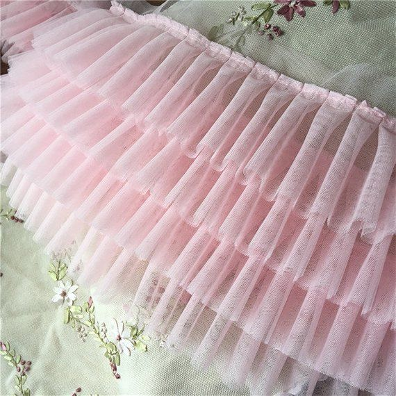 Pink 4 layers high density pleated tulle lace trims ruffled mesh trimmings for wedding dress dolls skirt hem 22cm 8.6″ BYDC192