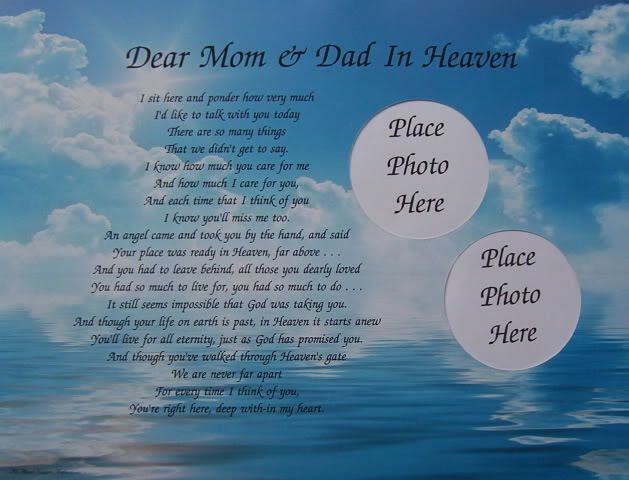 Dear Mom Dad in Heaven Poem Memorial Verse in Memory | Dad ...