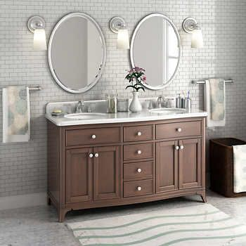 Florence 60 Double Sink Marble Top Vanity By Lanza Bathroom Marble Tile Bathroom Double Sink Vanity