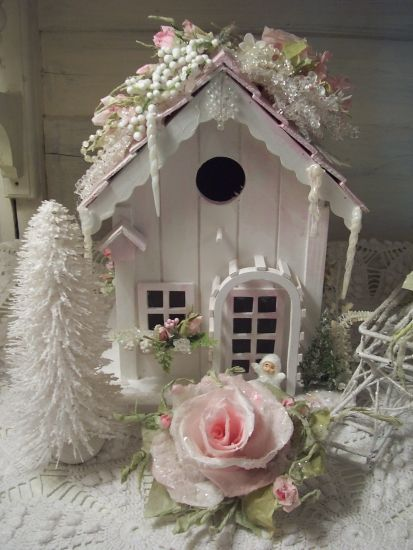 Christmas Ornaments Shabby Cottage Chic Pink Glittered Bird In Vintage Style Box