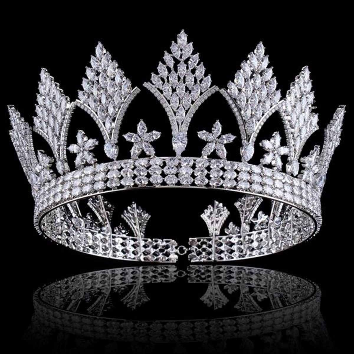 Silver Clear Crystal Cubic Zircon Bridal Tiara Crown Cosplay Wedding
