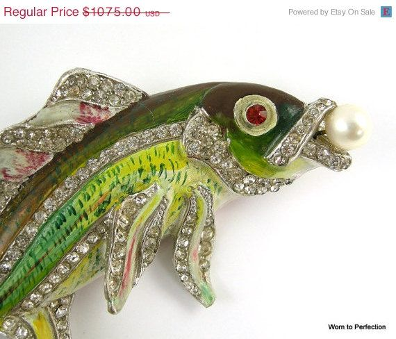 ON SALE Rare Staret Brooch Enameled Pot Metal by worn2perfection, $806.25