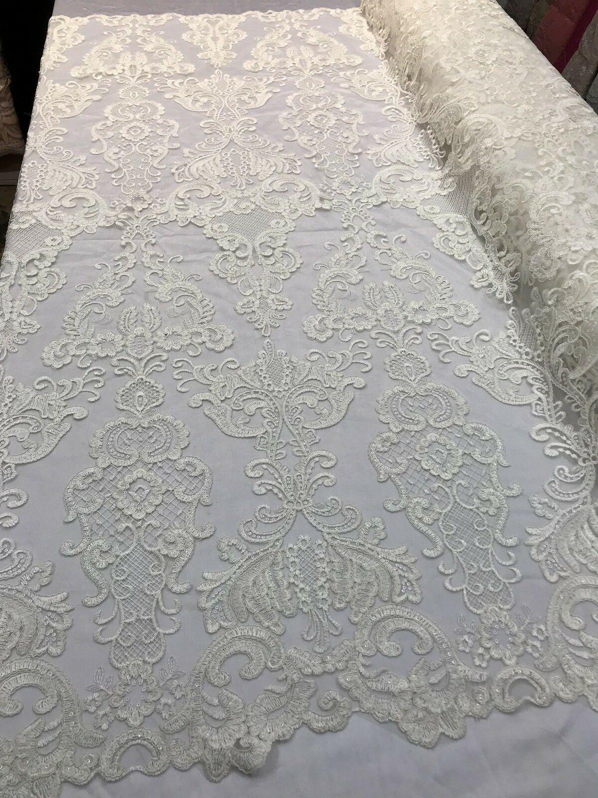 Ivory French Chantilly Eyelash Trim Design-wedding-bridal-5 inches Tall-by Yard.