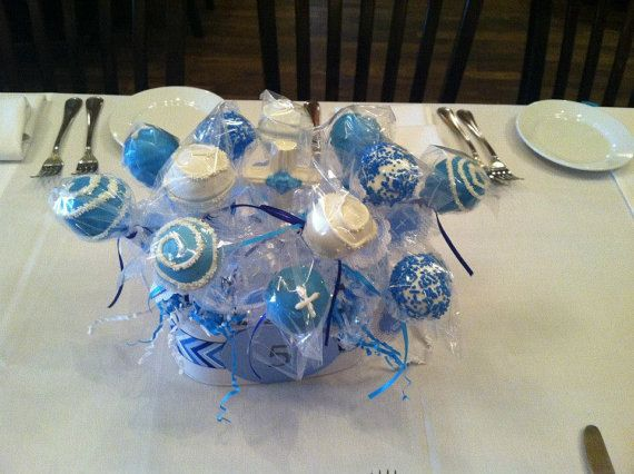 Cake Pop Centerpieces For Baptism : baby boy christening cake pop centerpieces by ...