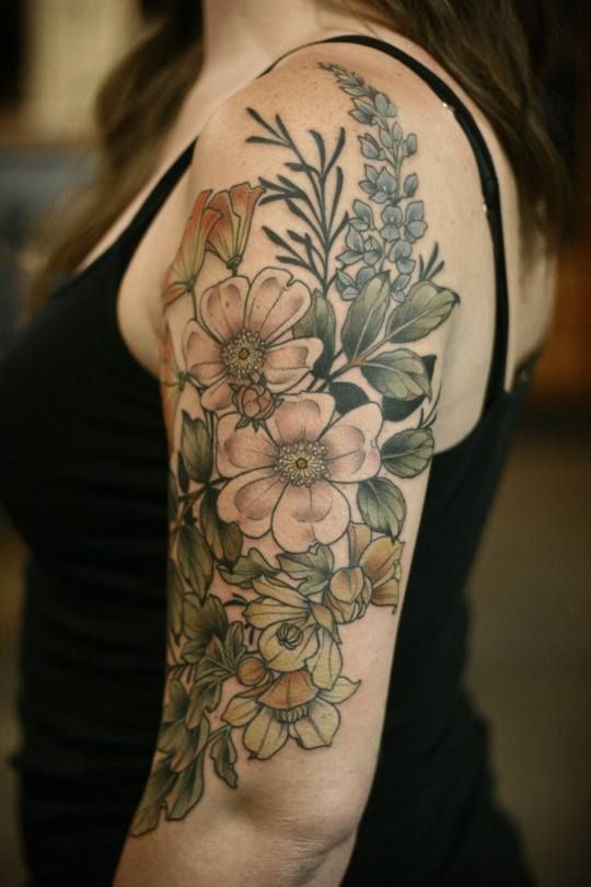 Half Sleeve Floral Illustration Tattoo Wildflower Tattoo Flower Tattoo Shoulder Tattoos