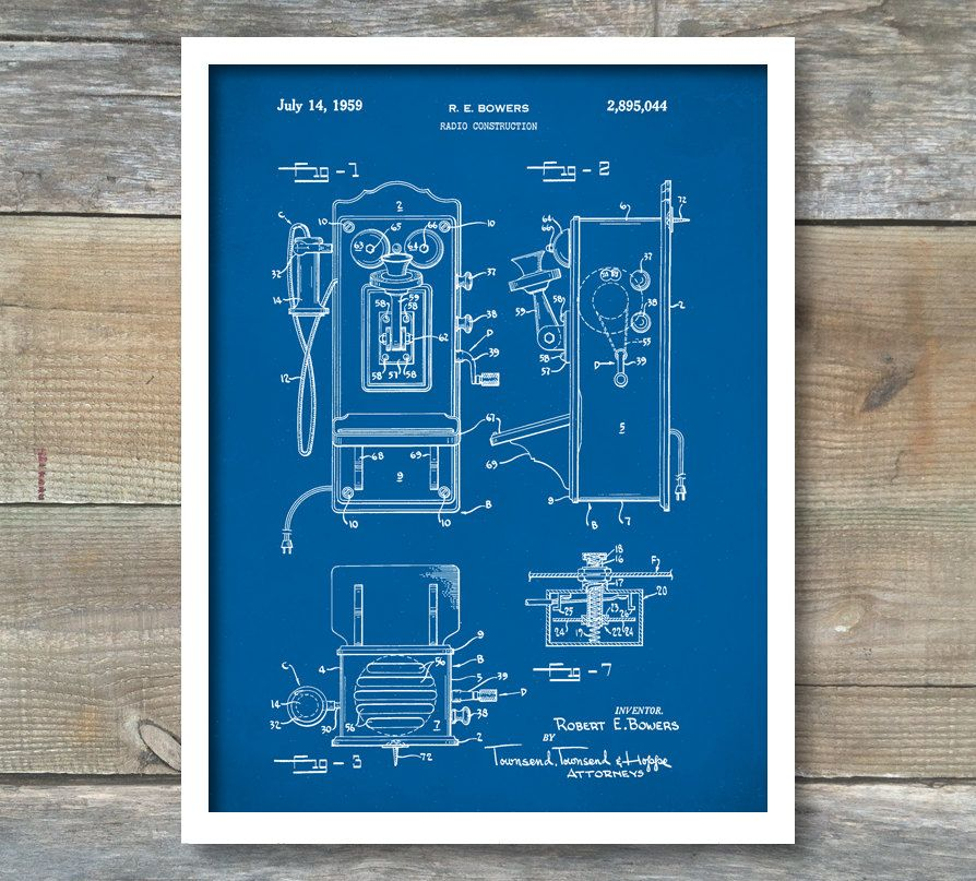 Telephone Patent Print (50u0027s style Phone), Telephone Patent Poster - copy coffee grinder blueprint
