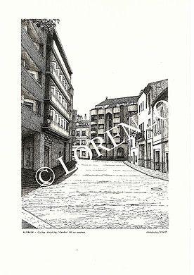 Almansa Calle Hospital Con Rambla De La Mancha Dibujo A Plumilla Sobre Papel Dibujo A Pluma Plumas Sobres De Papel