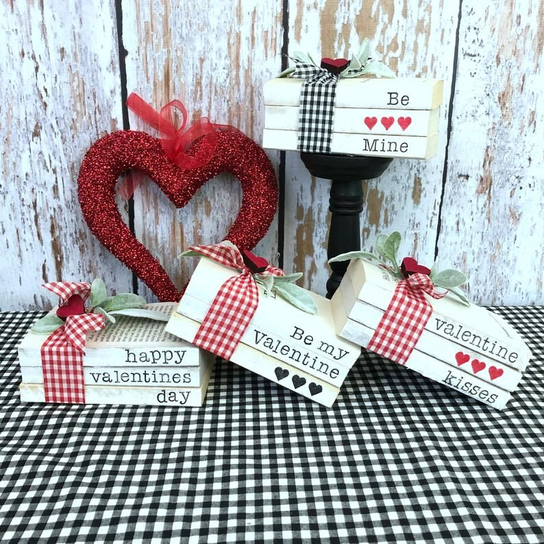 Stamped Books Valentines, FarmhouseBooks, Stack Books, Hand Stamped Books,