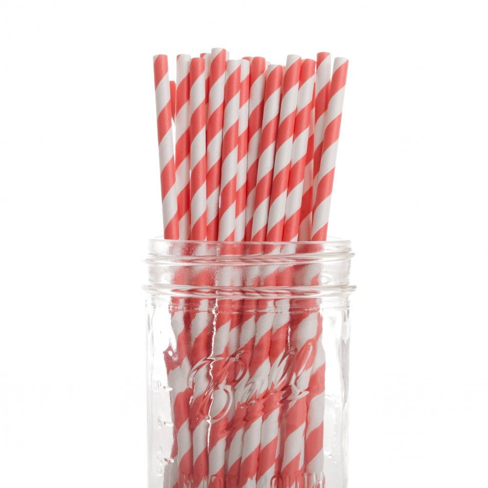Vintage Paper Drinking Straws - Coral Striped Paper Straws (4 Pack ...