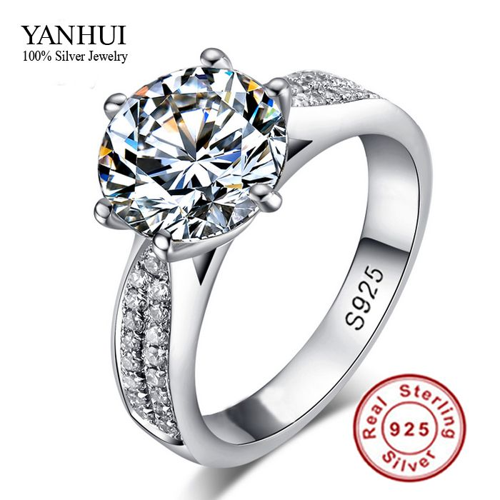 90% OFF!!! Never Fading Real 925 Sterling Silver Rings Women 2 Carat ...
