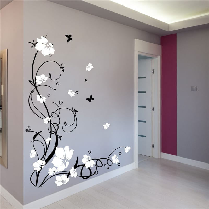 Vinyl Removable Wall Stickers Butterflies And Flowers Wall Decals For Bedroom Wall Decor Bedroom Butterfly Wall Decals