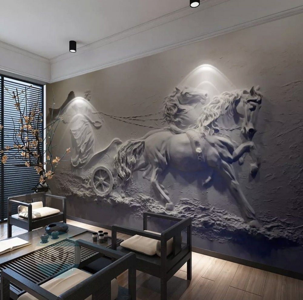 3D Embossed Look Cement Sculpture Horse Wallpaper Mural