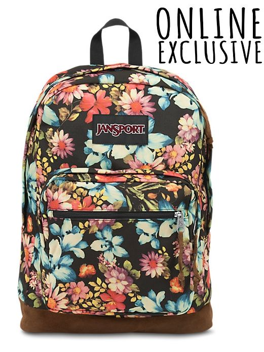 6c00cb5700 The new JanSport Multi Garden Delight Right Pack Expressions backpack  features a laptop sleeve and the signature suede leather bottom.