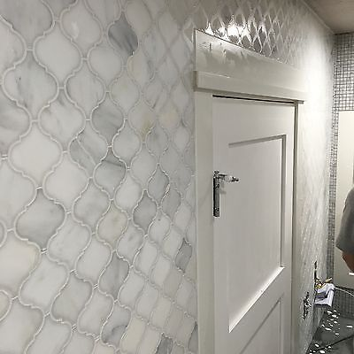 White Carrera Arabesque Baroque Marble Mosaic Tile Shower Wall