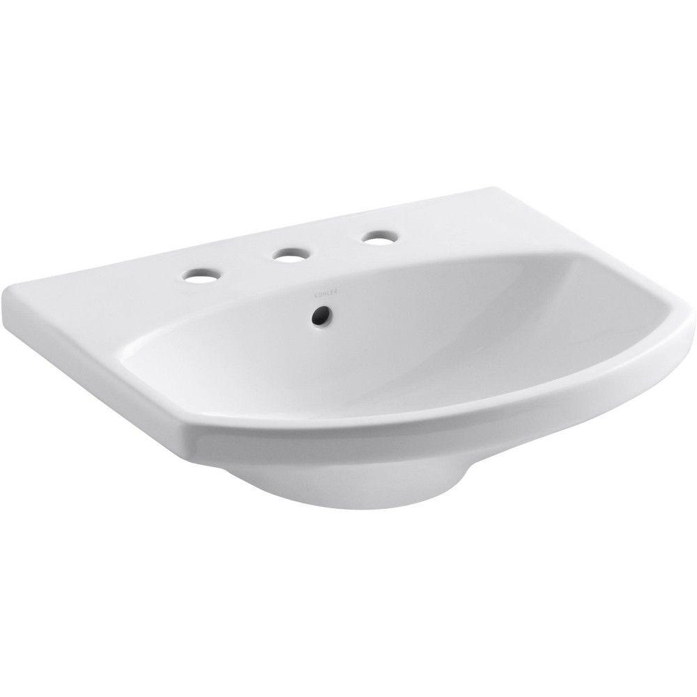 Kohler K 2363 8 Cimarron 21 Pedestal Bathroom Sink With 3 Holes
