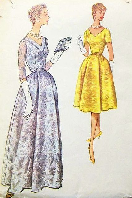 50s EVENING DRESS PATTERN 2 LENGTHS LOVELY NECKLINESTYLES McCALLS 5261