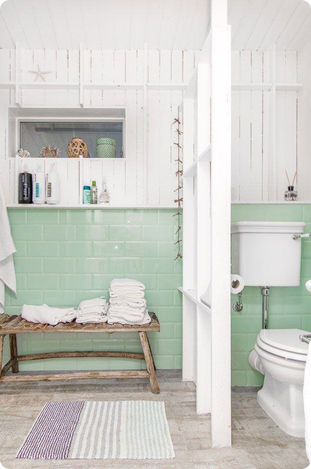 Décoration scandinave : Une salle de bain en blanc et vert ...