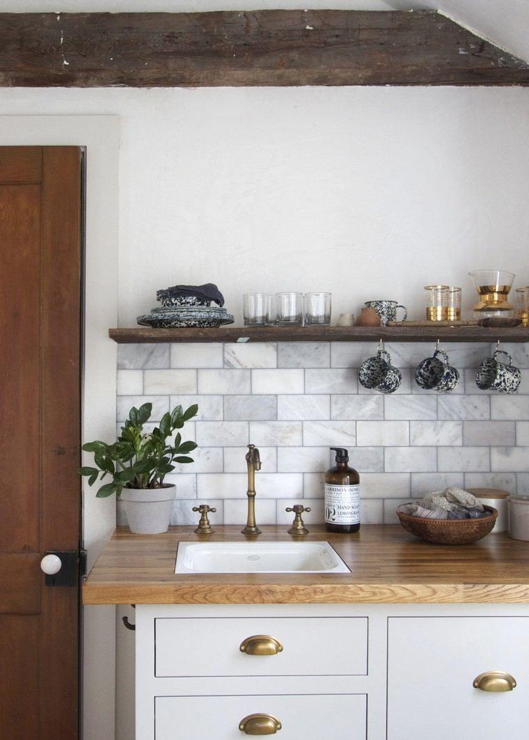 D co cuisine bois marbre id e plan de travail bois - Refaire sa cuisine rustique en moderne ...