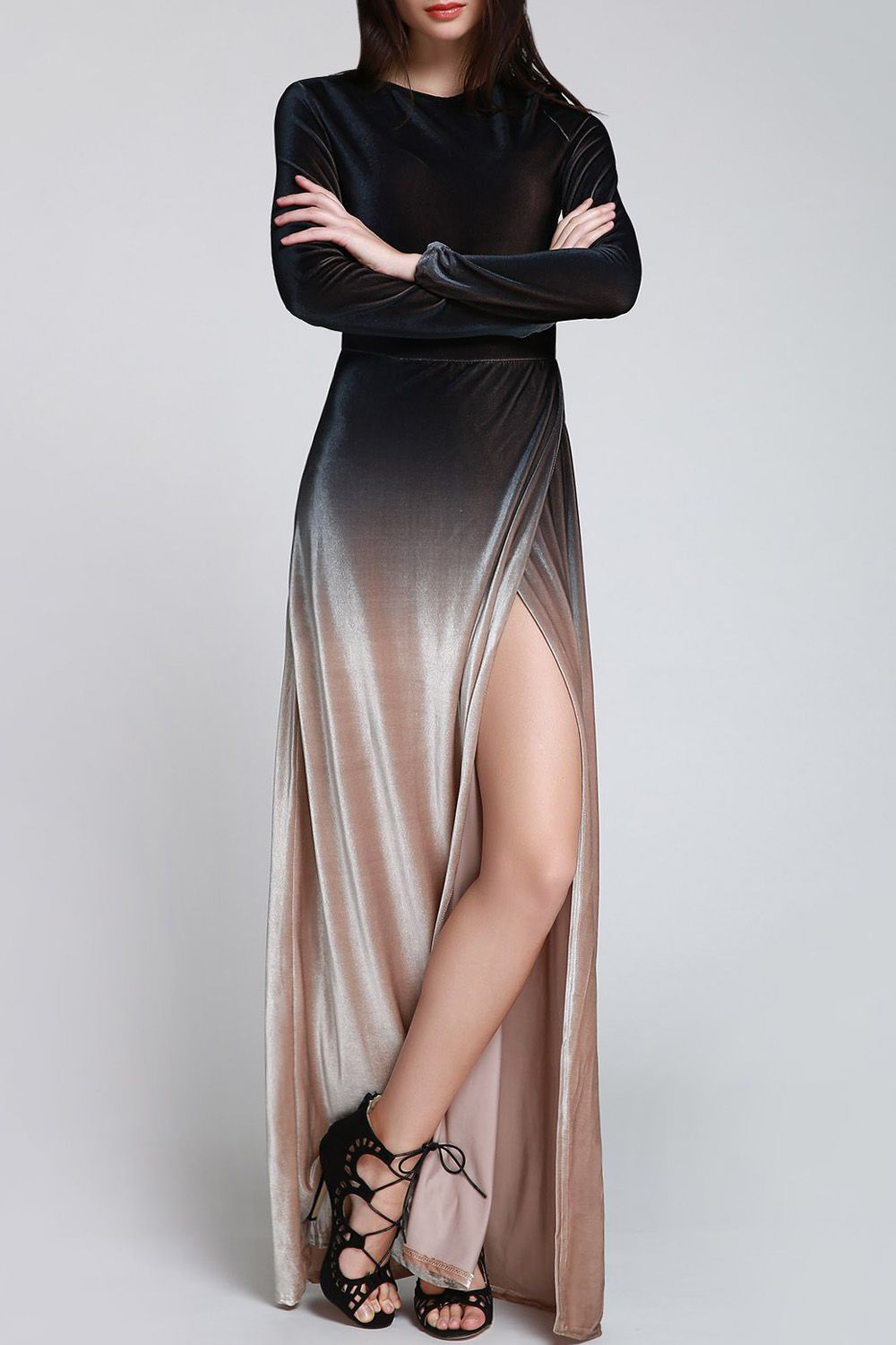 Side slit long sleeves gradient color dress fantasy gowns