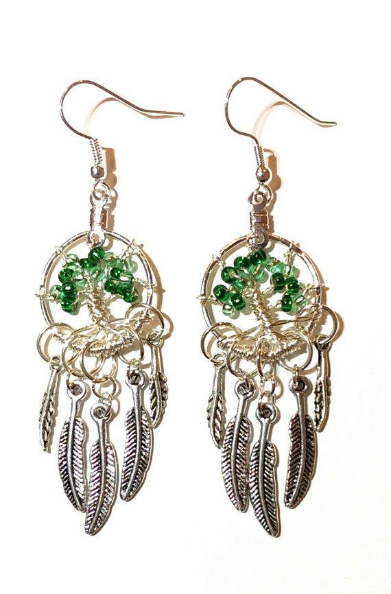Green Bead Tree Feather Dreamcatcher Jewellery Set