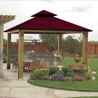 Riverstone Industries Corporation ACACIA 12 Ft. W x 12 Ft. D Metal Permanent Gazebo Roof Color: Maroon