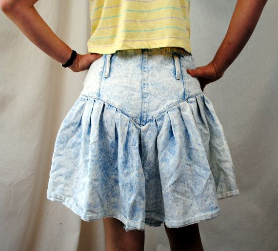 6d6ba4da35 vintage 80's denim ruffle skirt | Awesome Vintage 80s Acid Wash Ruffle  Denim Skirt. I used to have one of these!