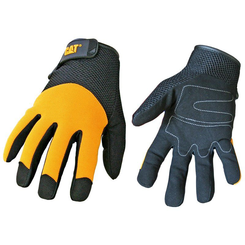 Cat Gloves CAT012215L Large Yellow Spandex Back Gloves - 2370-0339