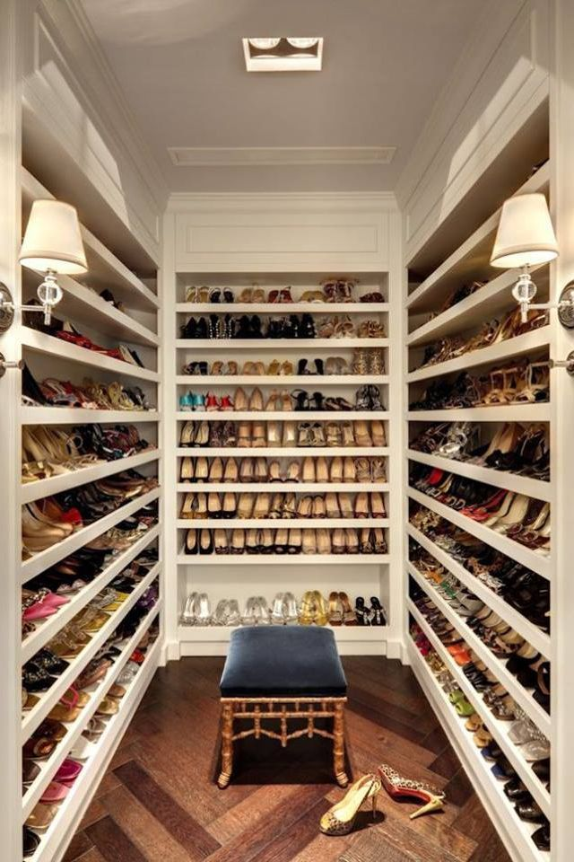 Superior Amazing Closet Dedicated To Just Shoes. Walk In Shoe Closet Features Floor  To Ceiling Shelves For Shoes Accented With Robert Abbey Muse Sconces As  Well As ...