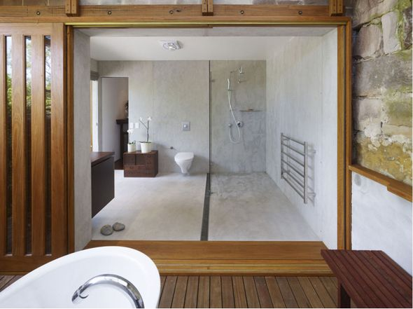 concrete bathroom structure; timber joinery