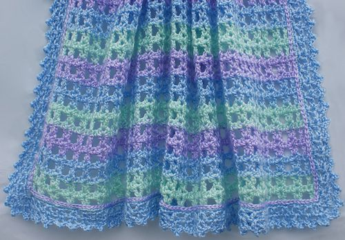 Ravelry: Striped Lace Crochet Baby Blanket pattern by Amy Solovay