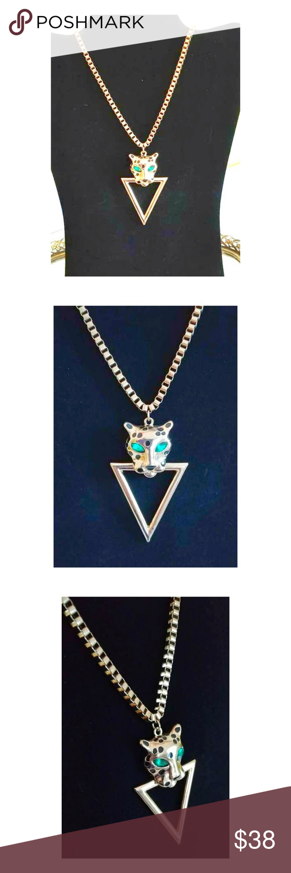 Vtg art deco leopard door knocker necklace my posh picks