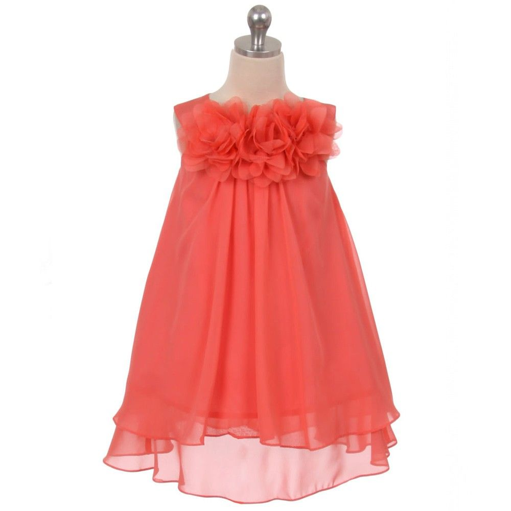 Cute Knee Length Coral Flower Girl Dresses With Flowers Coral
