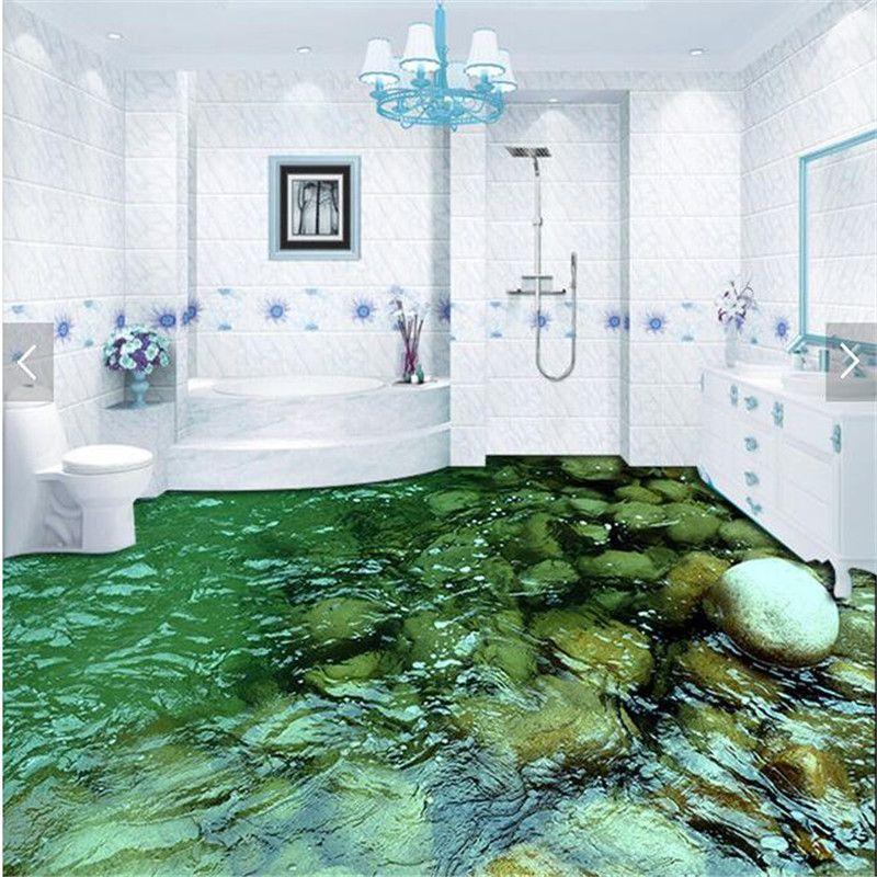 Modern floor painting hd natural scenery stone water - Waterproof floor paint for bathrooms ...