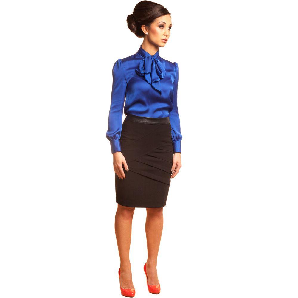 Sapphire Blue Petite Blouse For Work Petite Career Clothing Carmen