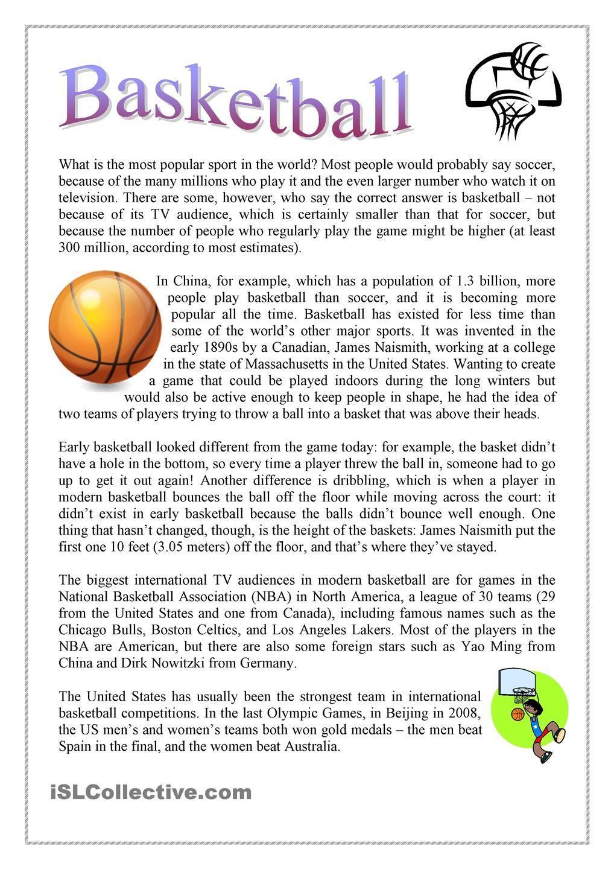 Basketball Reading Comprehension Teaching Reading Comprehension Reading Comprehension Worksheets Reading comprehension worksheets sports