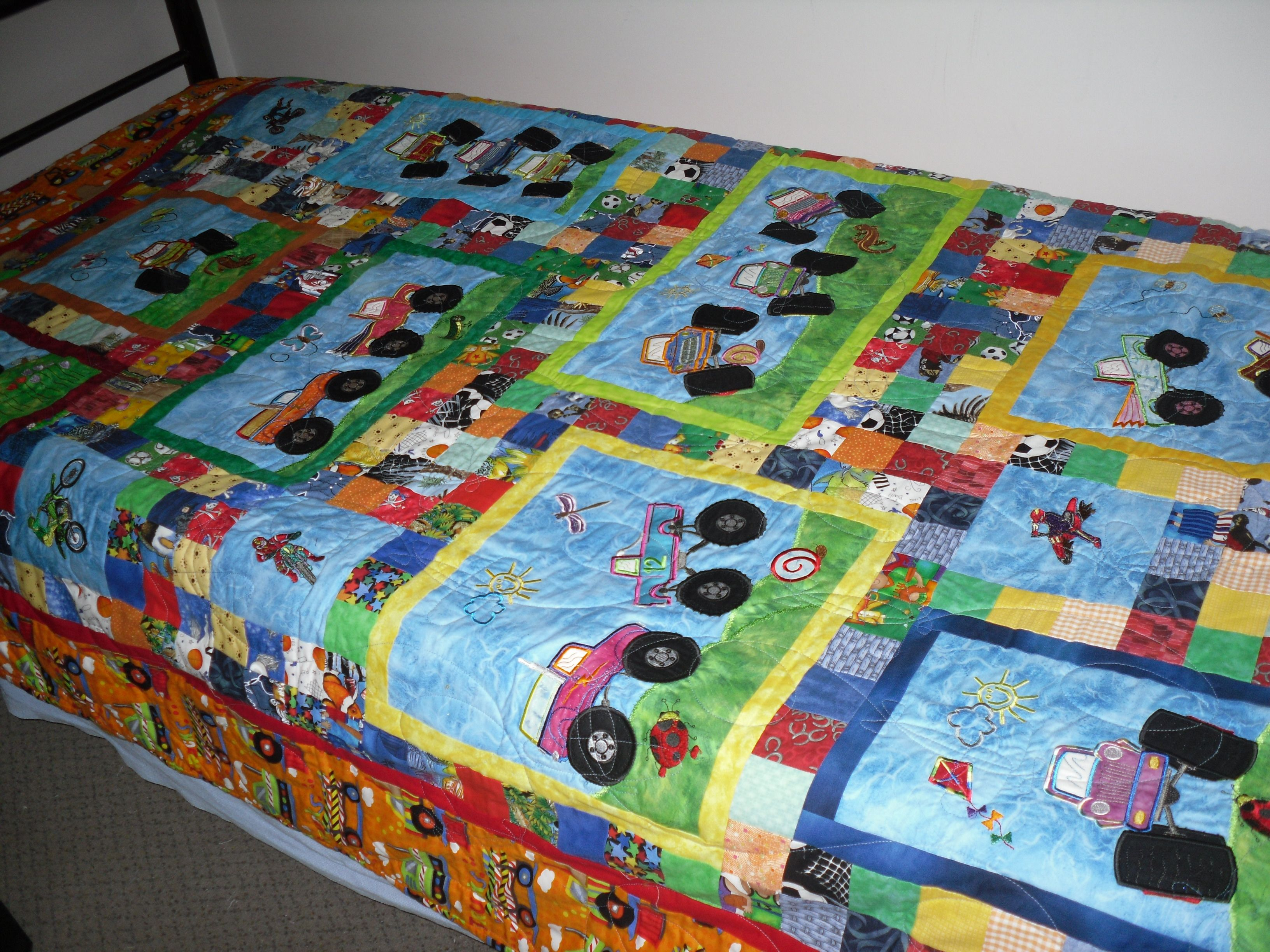 Monster truck quilt my creations pinterest monster for Baby monster fabric