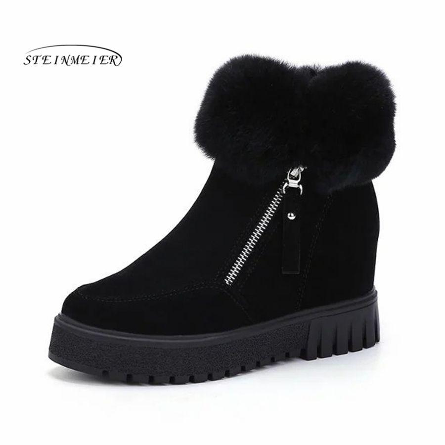 e40a312b971 Women Boots Winter Warm Snow Boots black Botas Mujer zipper Fur ...